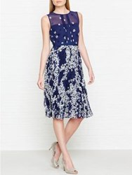 Hobbs Georgina Floral Print Sheer Panel Dress French Blue
