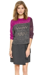 Nanette Lepore Pointelle Patch Crew Sweater Charcoal Multi