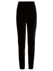 Saint Laurent High Rise Crushed Velvet Trousers Black