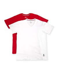 Psycho Bunny Tagless Motion V Neck Jersey Tee Set Red White