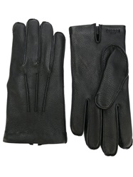 Canali Cashmere Lined Leather Gloves Black