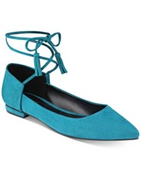 Guess Women's Vida Pointy Toe Ankle Wraparound Ballet Flats Women's Shoes Blue