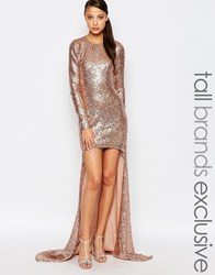 Maya Tall Sequin High Low Maxi Dress Pink