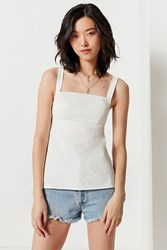 Urban Outfitters Uo Empire Waist Square Neck Poplin Cami White