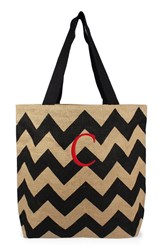 Cathy's Concepts Personalized Chevron Print Jute Tote Grey Black Natural C