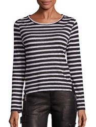 Frame Pintuck Long Sleeve Striped Tee Blanc And Noir