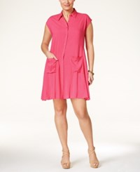 Love Squared Plus Size Cap Sleeve Shirtdress Coral
