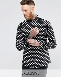 Noose And Monkey Shirt With All Over Heart Print Black