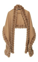 Yves Salomon Paris Wool And Rabbit Fur Scarf Brown