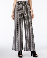 Bar Iii Aztec Print Wide Leg Pants Only At Macy's Black Combo