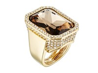 Vince Camuto Rectangle Stone Drama Adjustable Ring Gold Champagne Crystal Ring