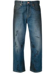 Vivienne Westwood Anglomania Brush Stroke Cropped Jeans Blue