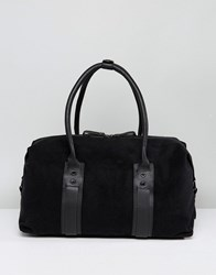 Paul Costelloe Canvas And Leather Gym Bag In Black Black