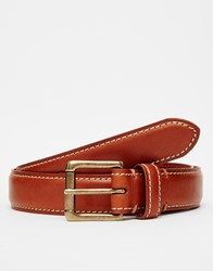 Racing Green Leather Belt Tan