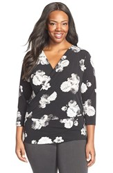 Plus Size Women's Ellen Tracy Faux Wrap Top Black Combo