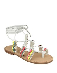Ivanka Trump Monday Leather Flat Sandals Ivory