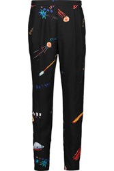 Vionnet Printed Silk Crepe De Chine Tapered Pants Black