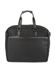 Cole Haan Canvas And Leather Briefcase Messenger Bag Black
