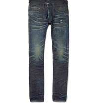 Fabric Brand And Co Slim Fit Distressed Selvedge Denim Jeans Dark Denim