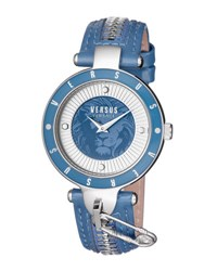 Versus By Versace 37Mm Key Biscayne Ii Watch W Leather Zipper Strap Blue