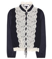 See By Chloe Lace Panelled Blouse Blue