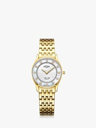 Rotary 'S Ultra Slim Diamond Bracelet Strap Watch Gold White Lb08303 41 D