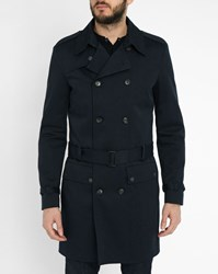 Ikks Navy Quilted Patch Pockets Trench Coat Blue