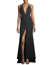 Fame And Partners Surreal Dreamer Deep V Neck Gown Black
