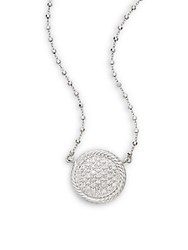 Alor Diamond 18K White Gold And Stainless Steel Pendant Necklace Silver