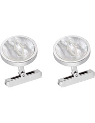 Cartier Double C Sterling Silver And Mother Of Pearl Cufflinks