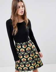 Traffic People Long Sleeve 2 In 1 Skater Dress With Printed Skirt Black Gold