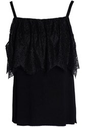Bailey 44 Montage Cold Shoulder Lace Paneled Stretch Jersey Top Black