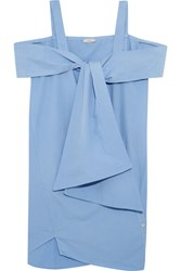 Clu Tie Front Cotton Mini Dress Light Blue