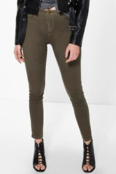 Boohoo 5 Pocket High Rise Skinny Jeans Khaki