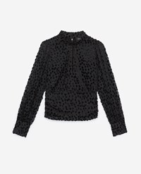 The Kooples Black High Neck Top With Tone On Tone Dots