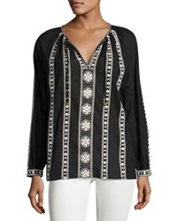 Neiman Marcus Long Sleeve Tie Neck Blouse Black