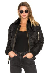 Alpha Industries B 15 Slim Fit Bomber With Faux Fur Collar Black
