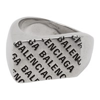 Balenciaga Silver Precious Logo Rectangle Ring