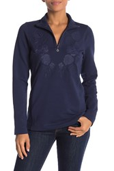 Tommy Bahama Embroidered Half Zip Pullover Ocean Deep