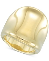 Signature Gold Diamond Accent Curved Concave Ring In 14K Over Resin Yellow Gold