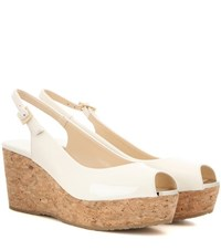 Jimmy Choo Praise Patent Leather Wedges White