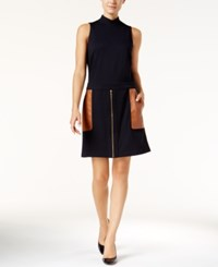Inc International Concepts Mock Turtleneck Mixed Media Dress Only At Macy's Deep Black