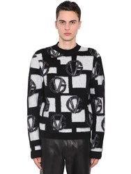 Versace Wool Blend Jacquard Knit Sweater Black