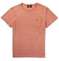 Rrl Voyager Striped Cotton T Shirt Coral