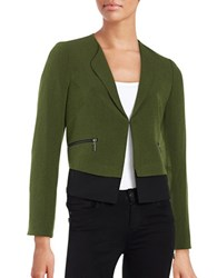 Nipon Boutique Contrast Hem Blazer Green Black