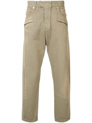 Balmain Biker Fly Baggy Trousers Brown