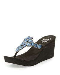 Premium Collection By Yellow Box Cerise Embellished Wedge Sandal Royal