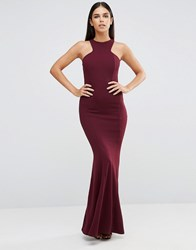 Club L Racer Front Maxi Dress In Crepe Deep Purple 168