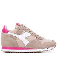 Diadora Trident Lace Up Sneakers Women Cotton Leather Suede Rubber 5 Nude Neutrals