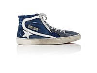 Golden Goose Men's Men's Slide Suede And Jersey Sneakers Navy Blue